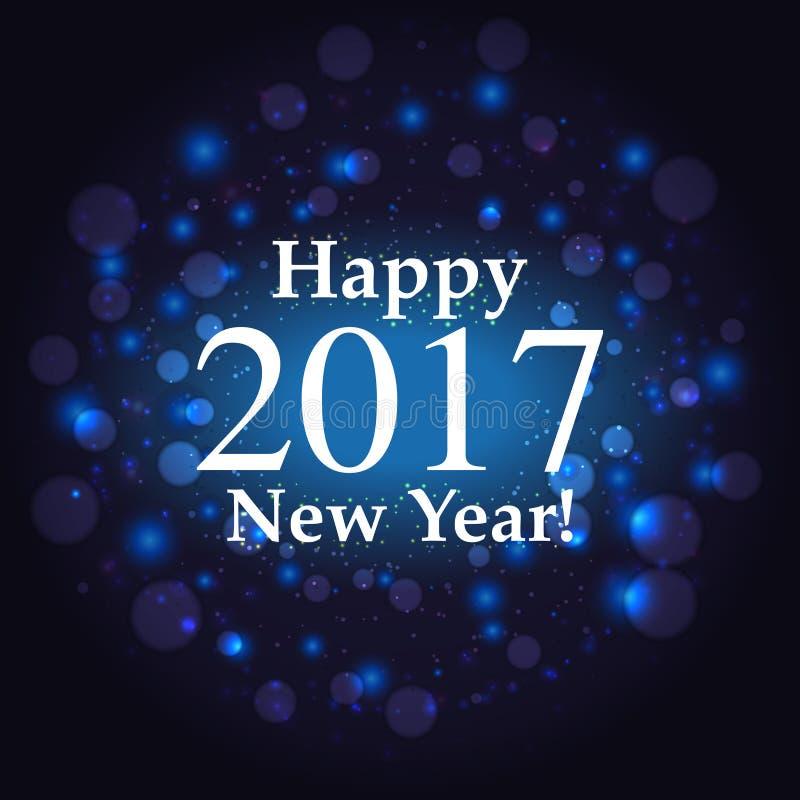 Guten Rutsch ins Neue Jahr-Aufschrift auf Feuerwerkshintergrund vektor abbildung