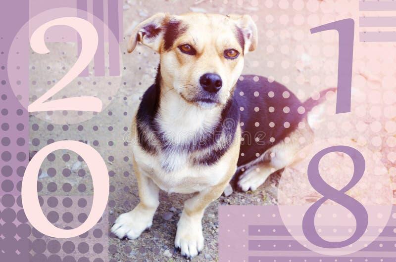 Guten Rutsch ins Neue Jahr 2018 Chinesisches Jahr des Hundes Skizzenvektorillustration für romantisches Design lizenzfreies stockfoto