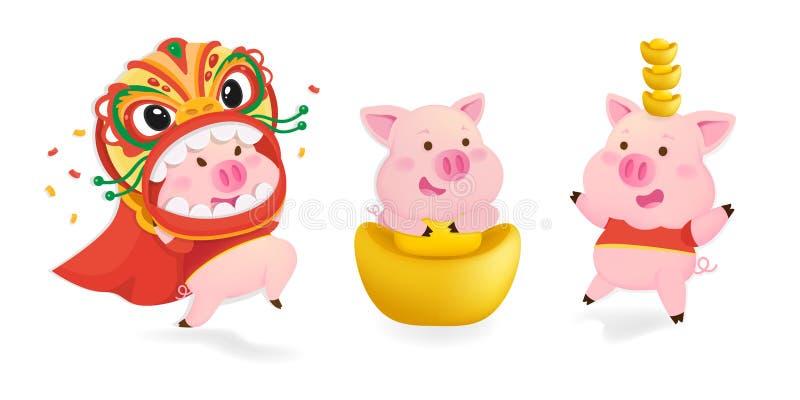 Guten Rutsch ins Neue Jahr 2019 Chinesisches neues Jahr Das Jahr des Schweins Lucky Pig auf rotem Hintergrund vektor abbildung