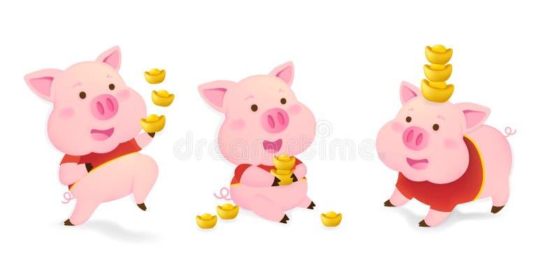 Guten Rutsch ins Neue Jahr 2019 Chinesisches neues Jahr Das Jahr des Schweins Lucky Pig auf wei?em Hintergrund stock abbildung