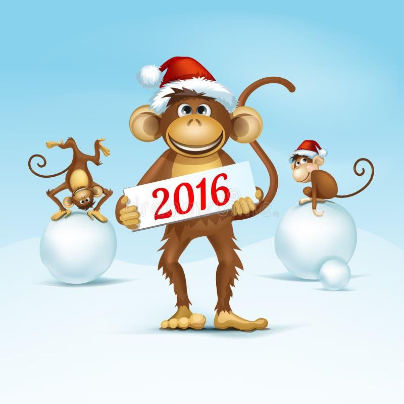2016 guten Rutsch ins Neue Jahr des chinesischen Kalender-Affe-Weihnachtskarten-Vektors lizenzfreie abbildung