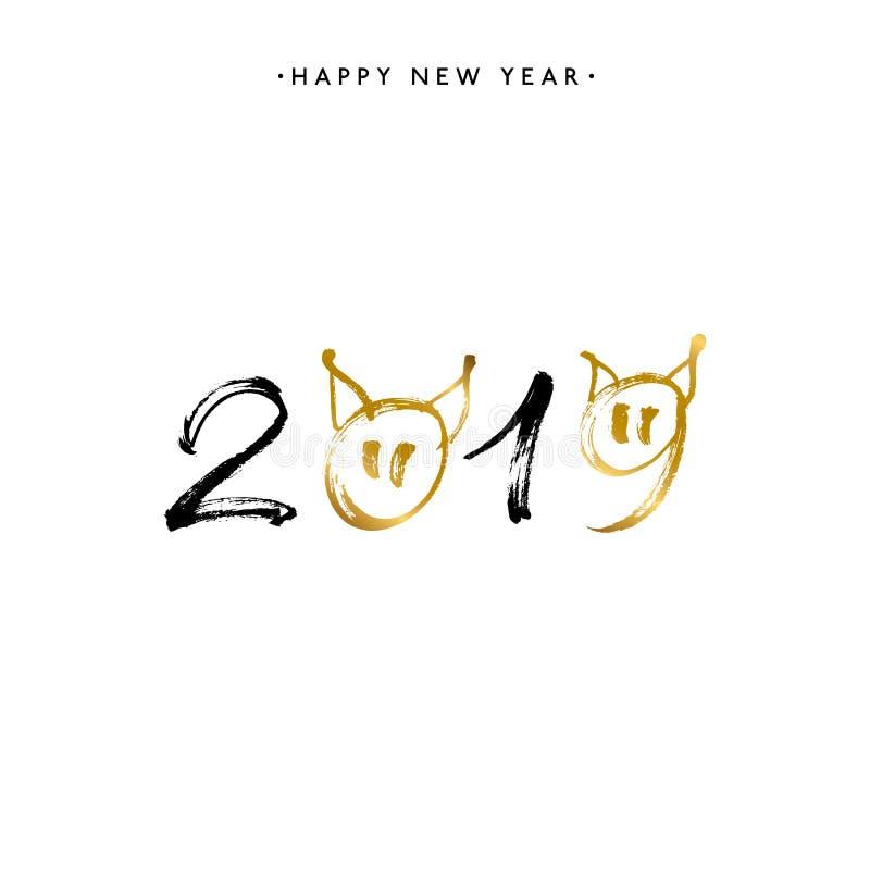2019 guten Rutsch ins Neue Jahr des Schweins, Goldtext lokalisiert auf weißem Hintergrund stock abbildung