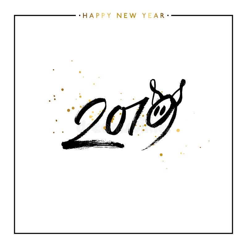 2019 guten Rutsch ins Neue Jahr des Schweins, Vektorillustration stock abbildung