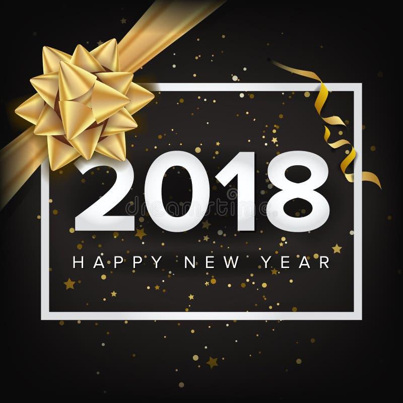 Guten Rutsch ins Neue Jahr-Einladungs-Vektor 2018 Weihnachtsmann auf einem Schlitten Modernes neues Jahr-Plakat, Flieger-Schablon lizenzfreie abbildung