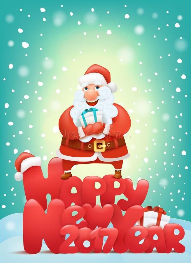 Guten Rutsch ins Neue Jahr-Einladungskarte 2017 mit Weihnachtsmann-Charakter, der Geschenkbox hält vektor abbildung