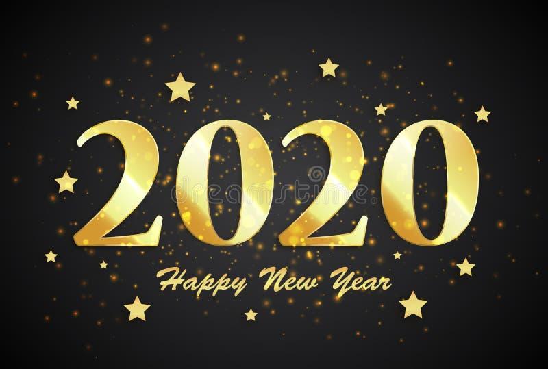 2020-guten Rutsch ins Neue Jahr-Fahne vektor abbildung