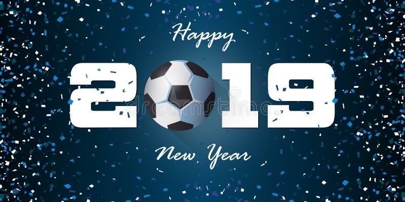 Guten Rutsch ins Neue Jahr-Fahne 2019 mit Papierkonfettis auf blauem Hintergrund Fahnenentwurfsschablone für Dekoration des neuen stock abbildung