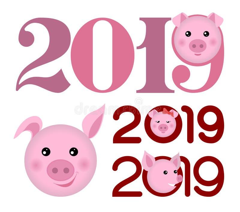 Guten Rutsch ins Neue Jahr-Fahne 2019 mit Schweinefleischköpfen stockfotos