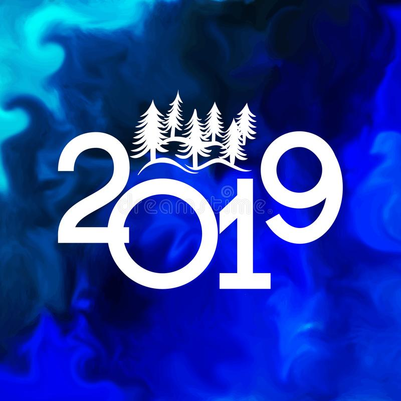 Guten Rutsch ins Neue Jahr-Fahne 2019 mit Weihnachtsbäumen lizenzfreies stockbild