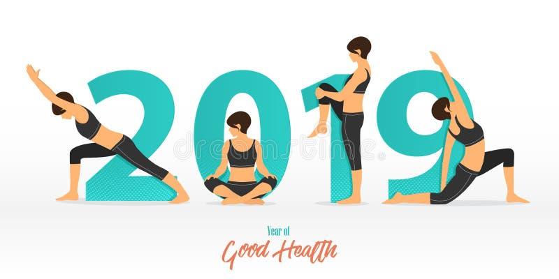 Guten Rutsch ins Neue Jahr-Fahne 2019 mit Yogahaltungen Jahr der guten Gesundheit Fahnenentwurfsschablone für Dekoration des neue lizenzfreie abbildung