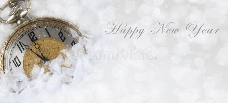 Guten Rutsch ins Neue Jahr-Fahnen-Größenbild mit einer Taschenuhr lizenzfreies stockbild