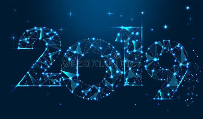 Guten Rutsch ins Neue Jahr-Fahnendesign 2019 Geometrische polygonale Grußkarte des neuen Jahr-2019 8 ENV vektor abbildung