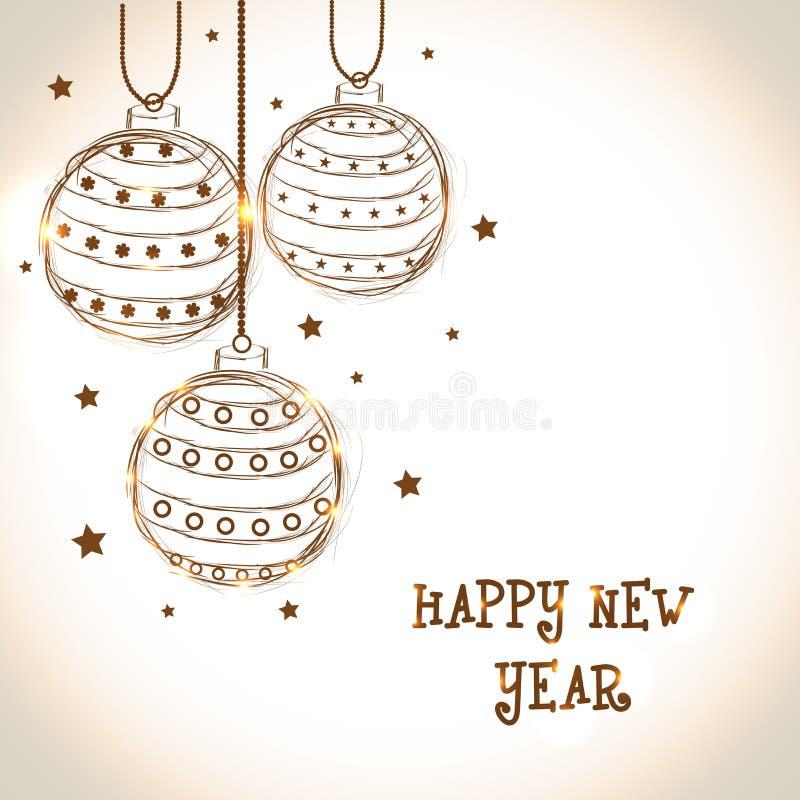 Guten Rutsch ins Neue Jahr-Feier-Grußkarte 2015 mit Weihnachtsbällen vektor abbildung