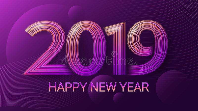 Guten Rutsch ins Neue Jahr 2019 feier Weihnachten Dunkler ultravioletter Hintergrund Vektor vektor abbildung