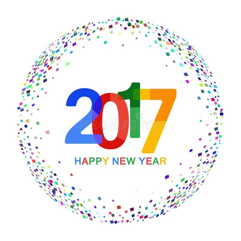 Guten Rutsch ins Neue Jahr-Feierhintergrund 2017 Buntes Papierschriftbild auf Hintergrund mit Konfettis Auch im corel abgehobenen vektor abbildung