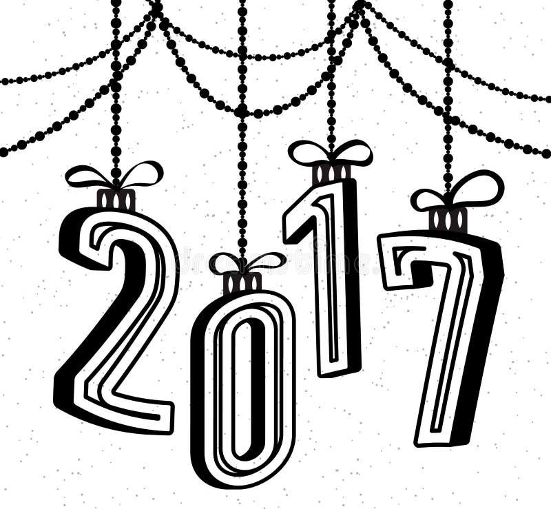 Guten Rutsch ins Neue Jahr-Feierhintergrund 2017 mit Effekt und Girlande des Textes 3d lizenzfreie abbildung