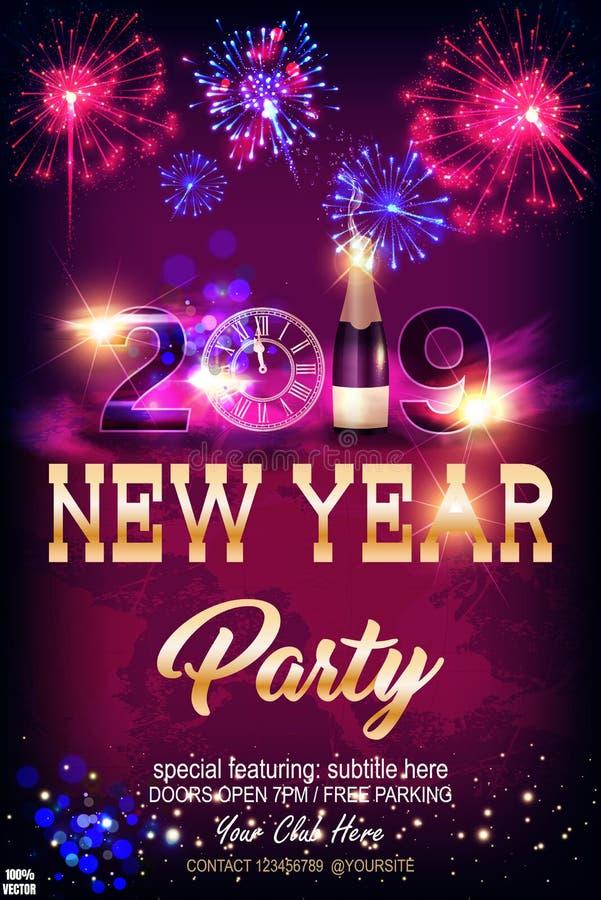 Guten Rutsch ins Neue Jahr-Feierkonzept 2019 mit goldenem Text, Feuerwerke, Champagner, goldene Uhr in der Nacht lizenzfreie abbildung