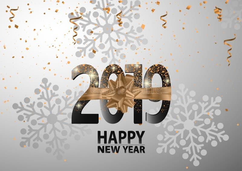 Guten Rutsch ins Neue Jahr 2019 Feiertags-Luxusvektor-Illustration lizenzfreie abbildung