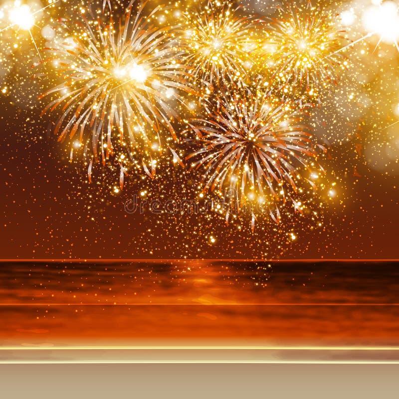 Guten Rutsch ins Neue Jahr-Feuerwerke lizenzfreie abbildung