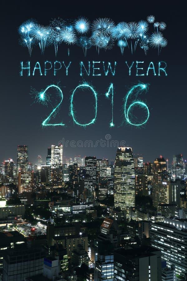 2016 guten Rutsch ins Neue Jahr-Feuerwerke, die über Tokyo-Stadtbild feiern lizenzfreie stockfotografie