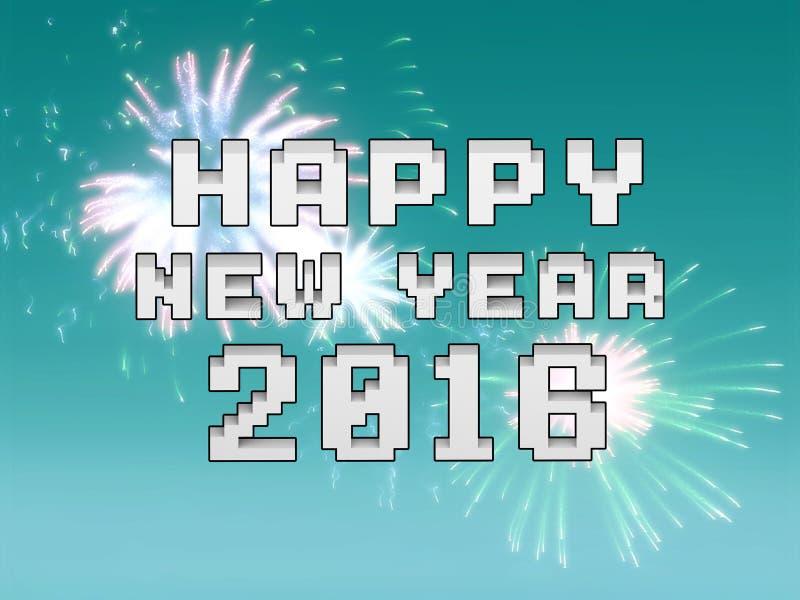 Guten Rutsch ins Neue Jahr-Feuerwerke 2016-Feiertags-Hintergrunddesign lizenzfreie abbildung