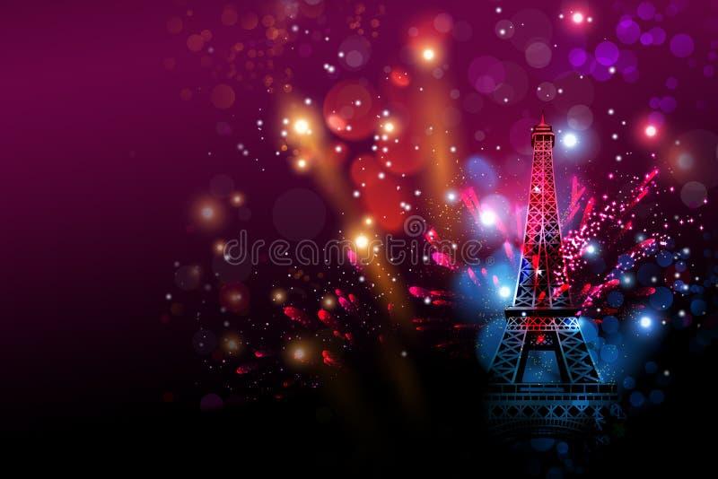 Guten Rutsch ins Neue Jahr-Feuerwerke Paris mit Eiffelturm- oder Frankreich-Tag lizenzfreie abbildung