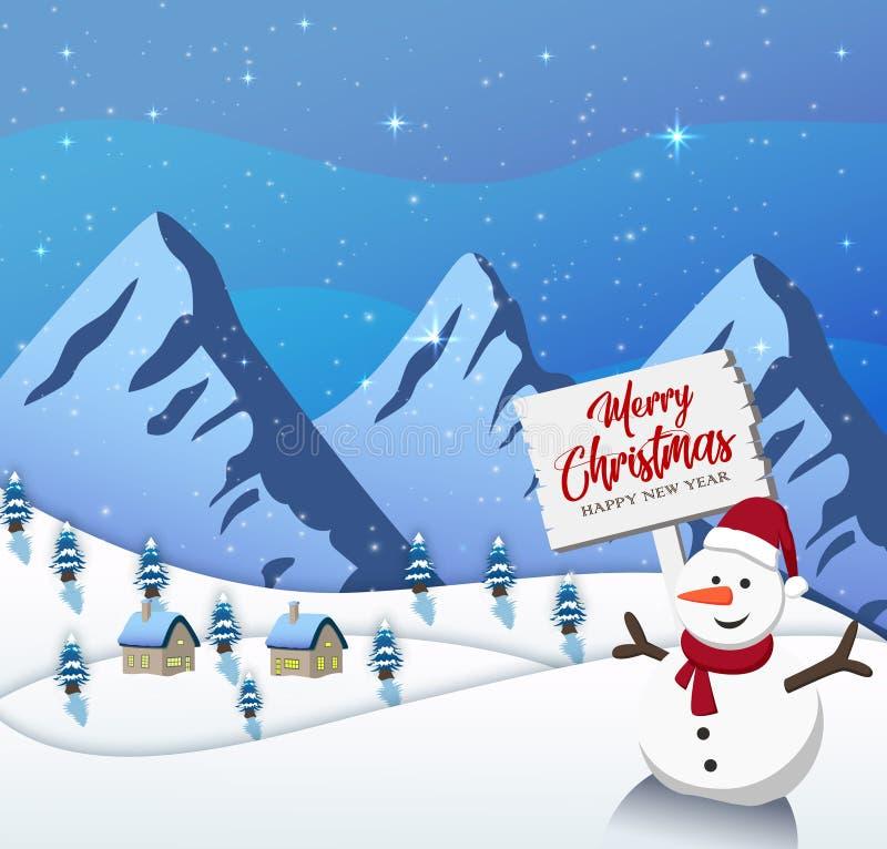 Guten Rutsch ins Neue Jahr-frohe Weihnachten 2019 auf blauem Hintergrund mit Schneemann und Berg lizenzfreie abbildung
