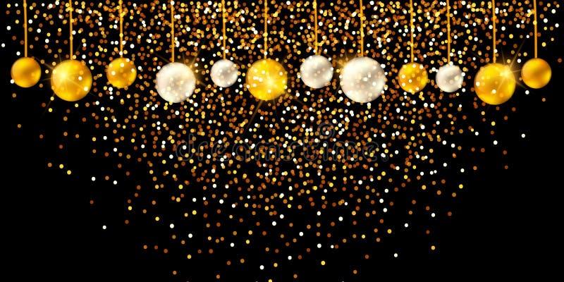 Guten Rutsch ins Neue Jahr 2019 - glänzender Hintergrund des neuen Jahres mit Perle und goldener Flitter und Funkeln lizenzfreie abbildung