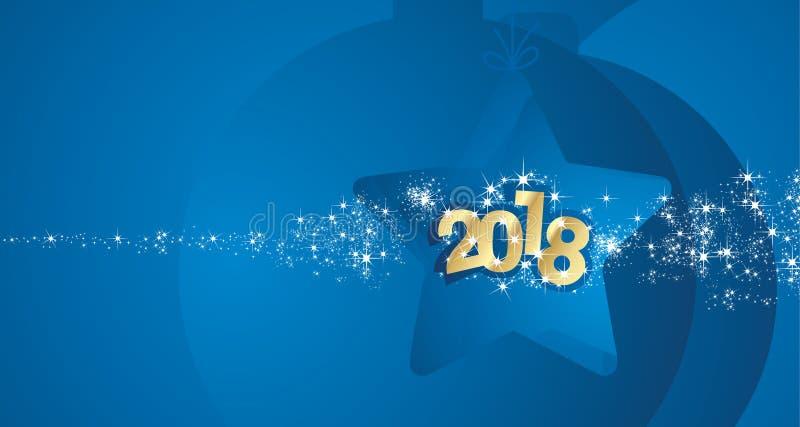 Guten Rutsch ins Neue Jahr-Goldblauer stardust Feuerwerkszusammenfassungsstern-Ballhintergrund 2018 lizenzfreie abbildung