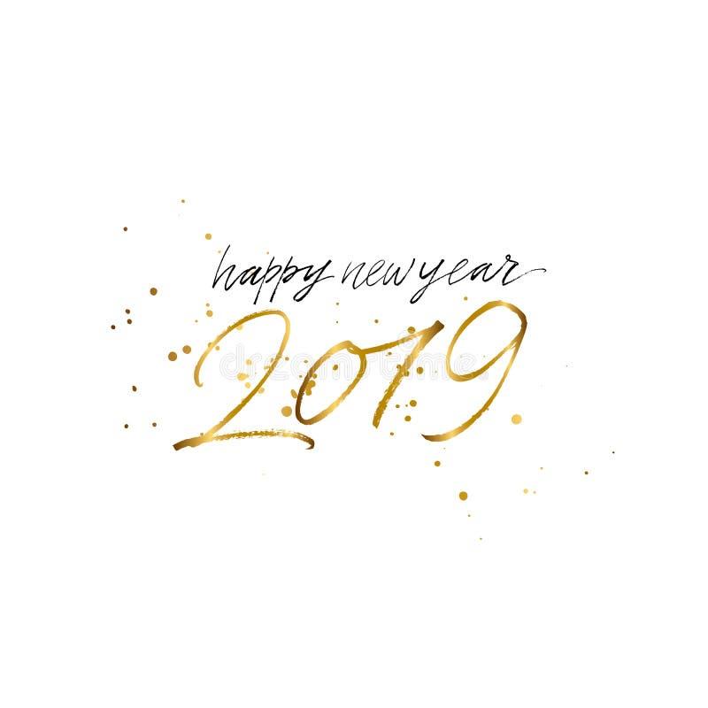 2019-guten Rutsch ins Neue Jahr-Goldtext lokalisiert auf weißem Hintergrund lizenzfreies stockbild