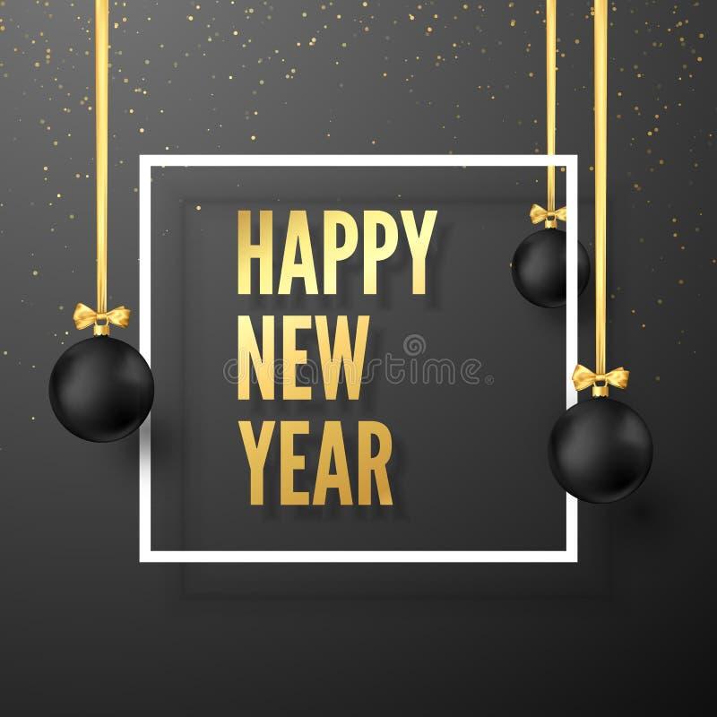 Guten Rutsch ins Neue Jahr-Gruß-Karte in den goldenen und schwarzen Farben Schwarze Weihnachtsbälle mit goldenen Bändern und fest stock abbildung