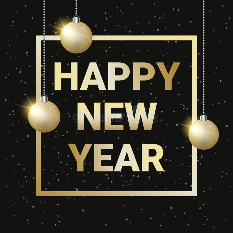 Guten Rutsch ins Neue Jahr-Gruß-Karten-goldener Text im Rahmen verziert mit Weihnachtsbällen über schwarzem glänzendem Hintergrun lizenzfreie abbildung