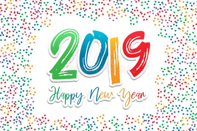 2019 guten Rutsch ins Neue Jahr Grußcolorfull Text und Zahlen stockfoto