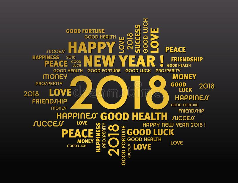 Guten Rutsch ins Neue Jahr-Grußkarte 2018 vektor abbildung
