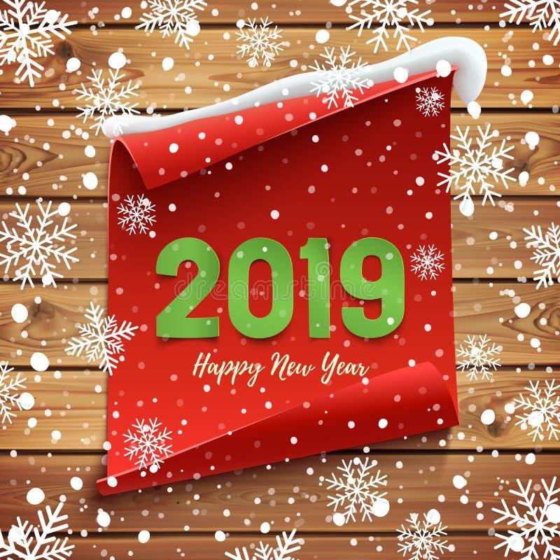 Guten Rutsch ins Neue Jahr-2019 Grußkarte, Fahnenschablone vektor abbildung