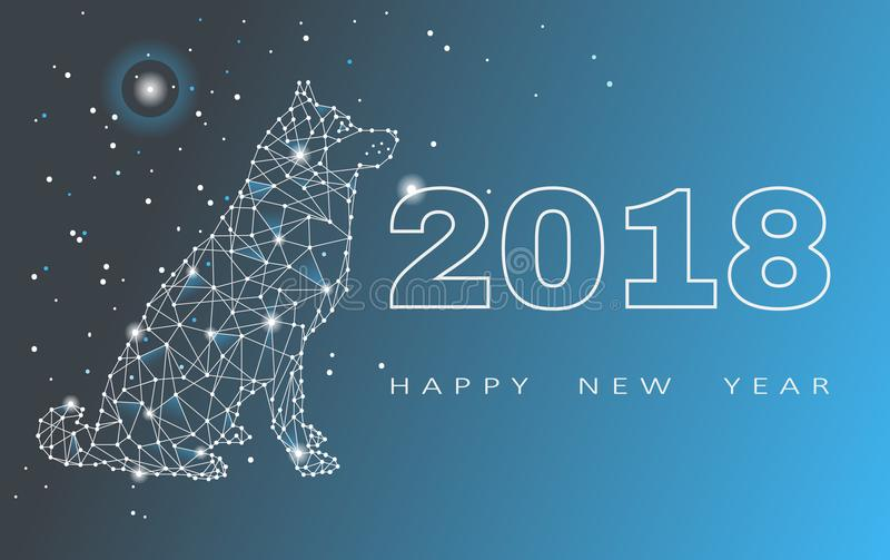 2018-guten Rutsch ins Neue Jahr-Grußkarte Feier mit Hund 2018 Chinesisches Neujahrsfest des Hundes Auch im corel abgehobenen Betr vektor abbildung