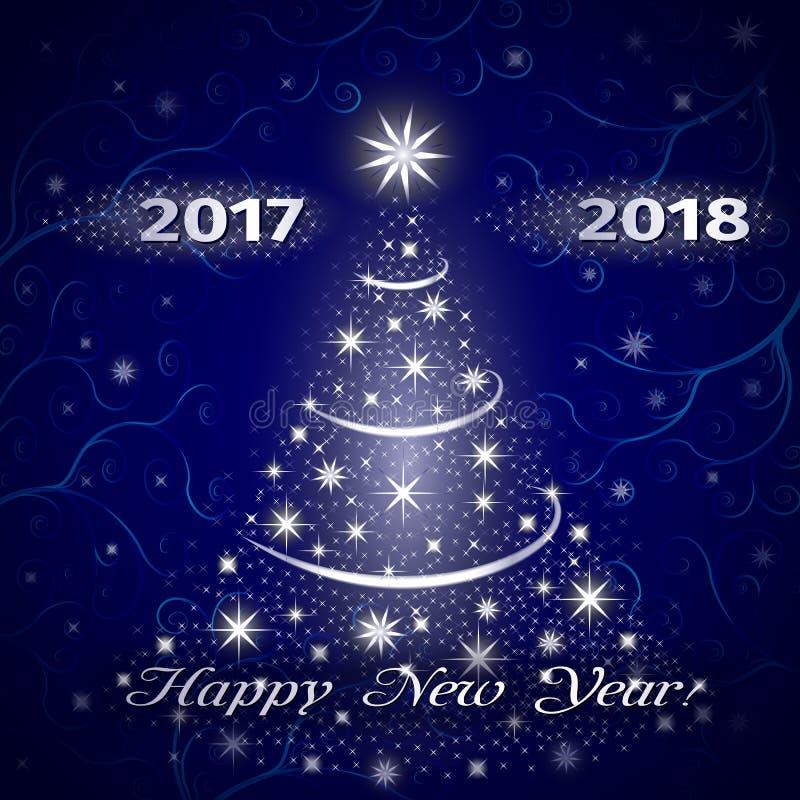 Guten Rutsch ins Neue Jahr-Grußkarte 2018 im Blau lizenzfreie abbildung