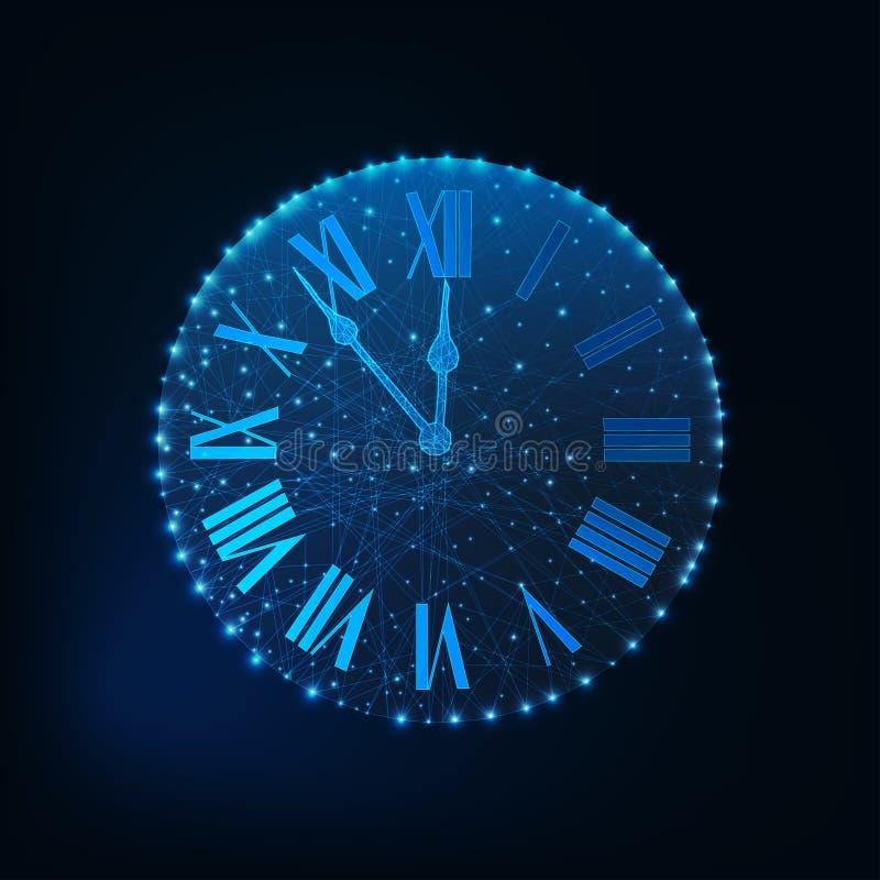 Guten Rutsch ins Neue Jahr-Grußkarte mit glühender niedriger römischer Zahlpolyuhr auf dunkelblauem Hintergrund vektor abbildung