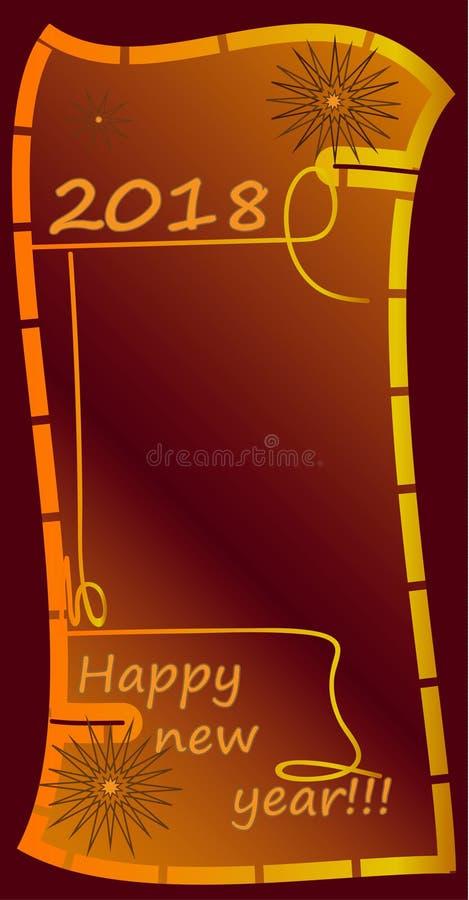 Guten Rutsch ins Neue Jahr!!! Grußkarte mit 2018 Rottönen lizenzfreies stockbild