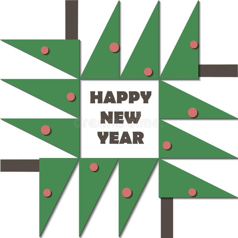 Guten Rutsch ins Neue Jahr-Grußkarte Papierschnittcollagenapplikations-Ausschnittkind Weihnachtsbaum mit geometrischem Material d lizenzfreie abbildung