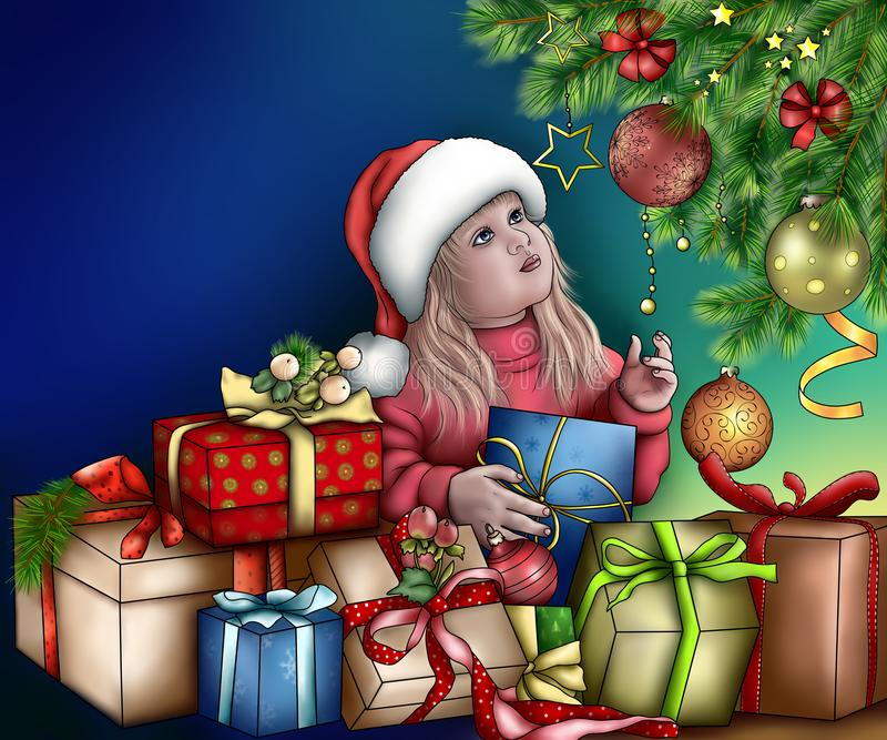 Guten Rutsch ins Neue Jahr-Grußkarte Zeichnen mit einem kleinen Mädchen unter t lizenzfreie stockfotos