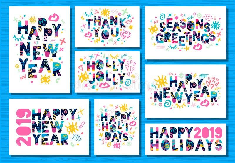 Guten Rutsch ins Neue Jahr 2019, Grußkarten der frohen Weihnachten Bunte Hand gezeichnete Vektorillustration lizenzfreie abbildung