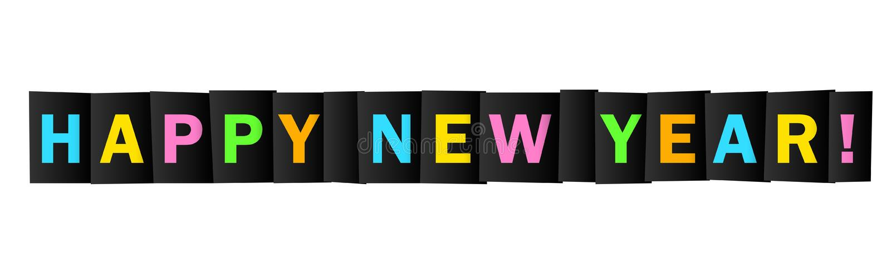 GUTEN RUTSCH INS NEUE JAHR! helle und bunte Typografiefahne lizenzfreies stockfoto