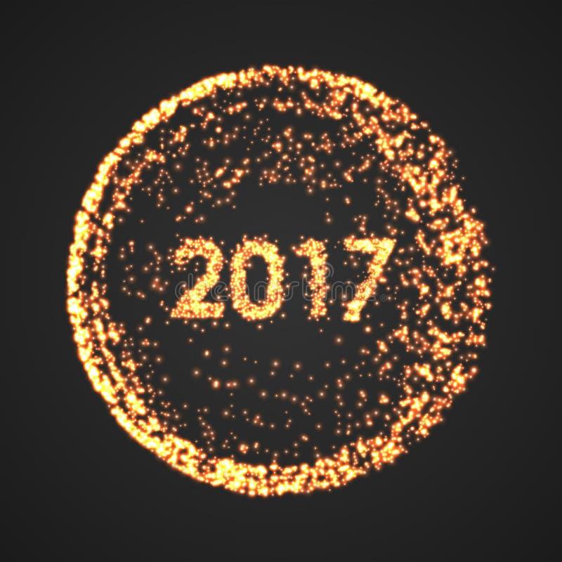 Guten Rutsch ins Neue Jahr-Hintergrund 2017 Kalenderdekoration glückliches neues Jahr 2007 Runde Illustration des Partikels stockfotos