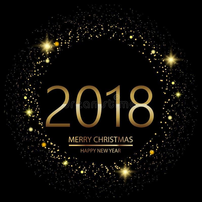 Guten Rutsch ins Neue Jahr-Hintergrund mit dem Glühen beleuchtet Text 2018 auf schwarzem Hintergrund Vektor stock abbildung