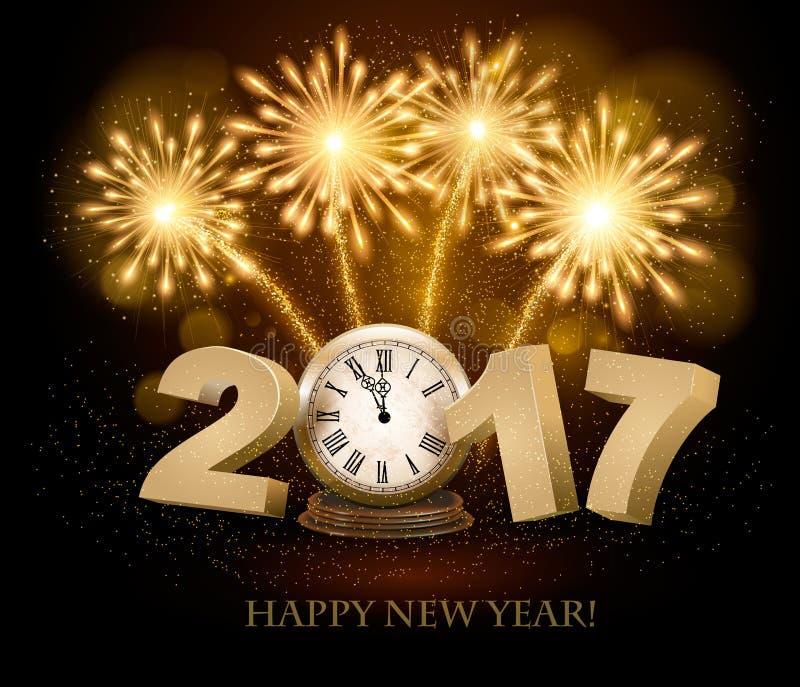 Guten Rutsch ins Neue Jahr-Hintergrund mit 2017, eine Uhr und Feuerwerke vektor abbildung