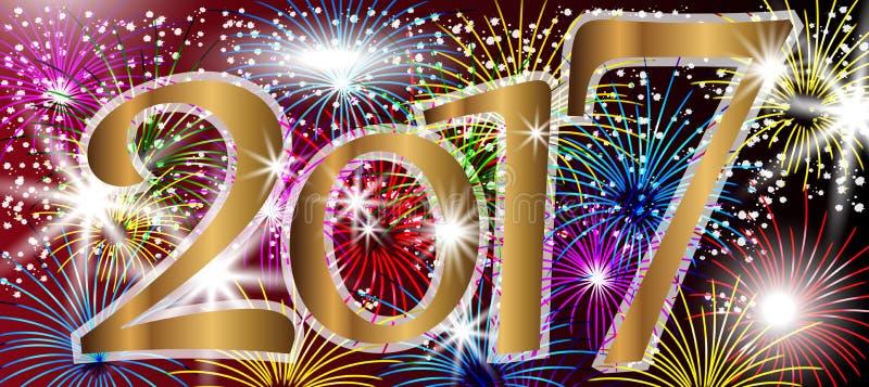 2017-guten Rutsch ins Neue Jahr-Hintergrund mit Feuerwerken vektor abbildung
