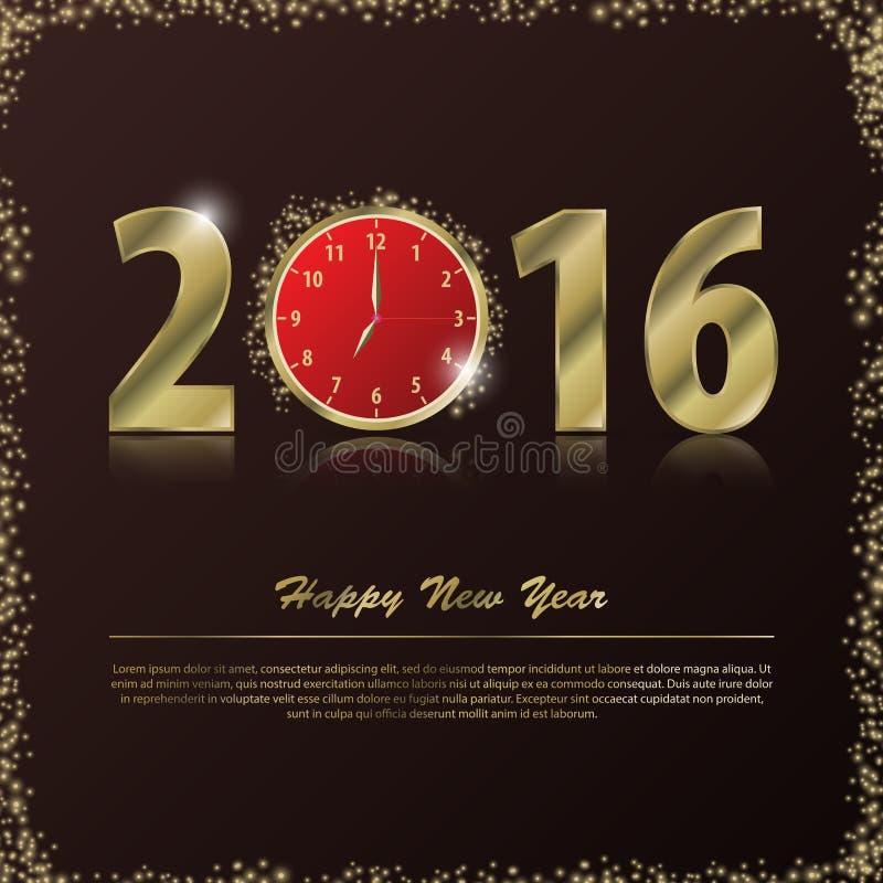 2016-guten Rutsch ins Neue Jahr-Hintergrund mit Golduhr Auch im corel abgehobenen Betrag stock abbildung