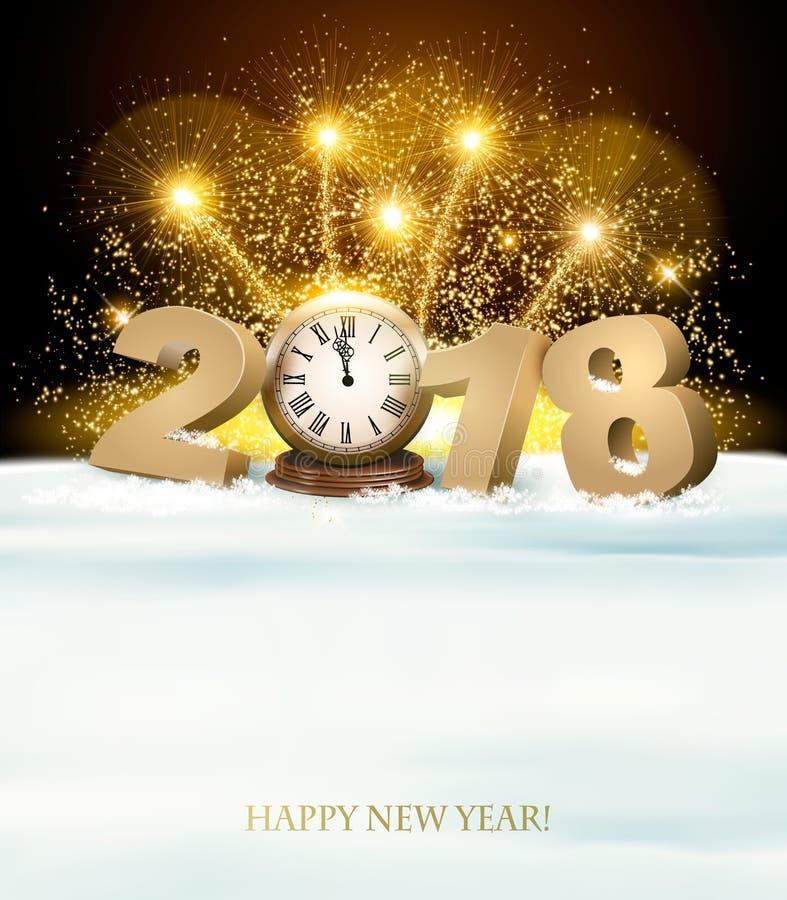 Guten Rutsch ins Neue Jahr-Hintergrund mit 2018 und Feuerwerke vektor abbildung