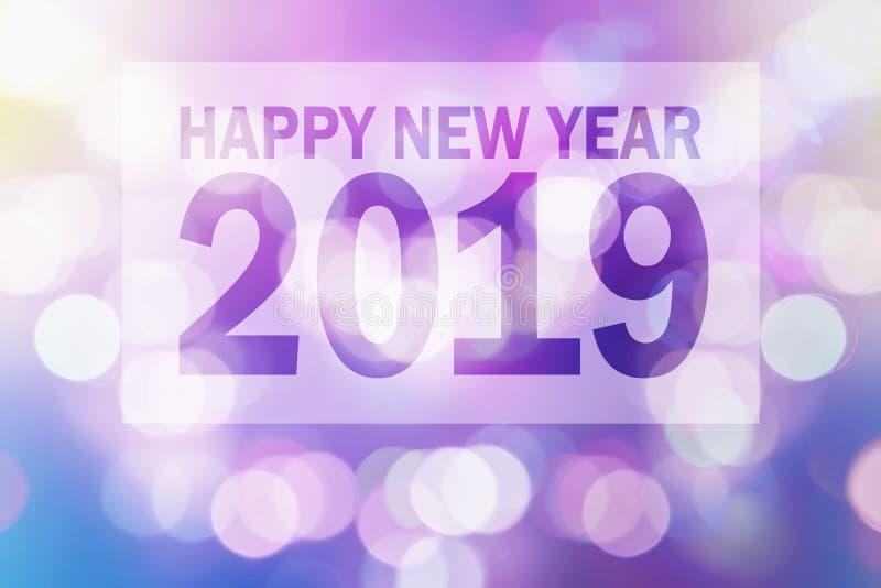 Guten Rutsch ins Neue Jahr-Illustration 2019 mit bunter Unschärfe Bokeh lizenzfreies stockbild